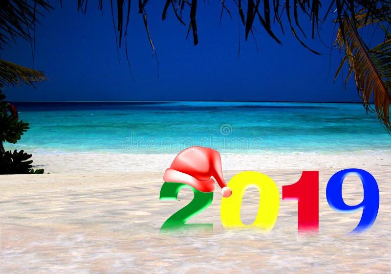 С Новым Годом! 2019 на тропическом острове стоковое изображение