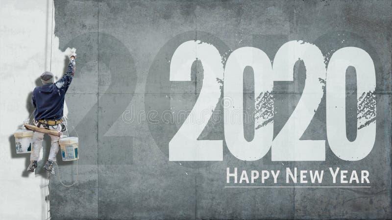 С Новым Годом 2020 на фасаде стоковое изображение