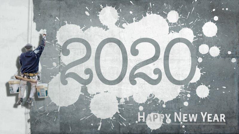 С Новым Годом 2020 на фасаде стоковая фотография rf