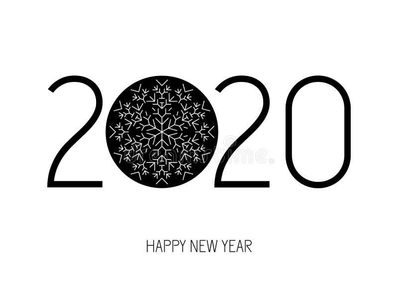 2020 С Новым Годом! номеров со снежинкой иллюстрация вектора