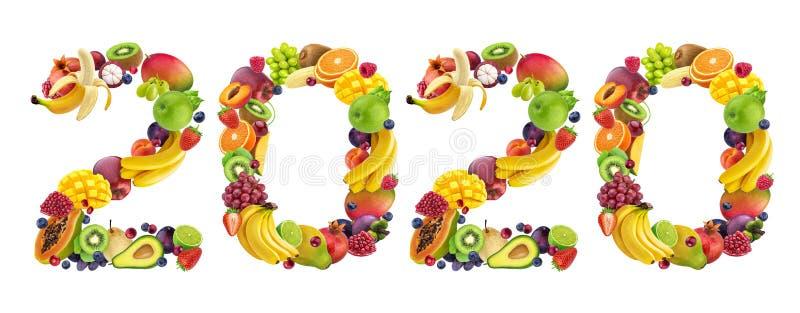 С Новым Годом 2020 Номер 2020 из тропических и экзотических фруктов стоковое фото