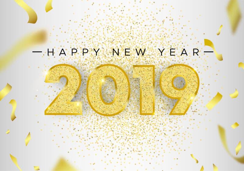 С Новым Годом! номер карты 2019 яркого блеска золота иллюстрация вектора