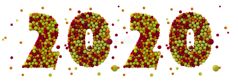 С Новым 2020 Годом Празднично-коричневые шерстяные шары чисел 2020 3d знак иллюстрация штока