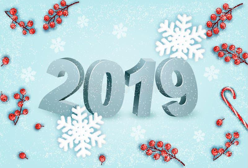 С Новым Годом! предпосылка с 2019 и снежинки иллюстрация вектора