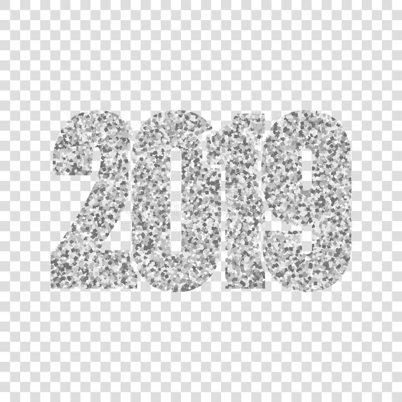 С Новым Годом! серебр 2019 Серебристые числа яркого блеска изолировали белую прозрачную предпосылку Сияющий накаляя дизайн иллюстрация штока