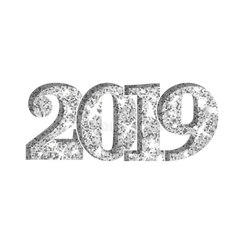 С Новым Годом! серебр 2019 Серебристые числа яркого блеска изолированные на белой предпосылке Сияющий накаляя дизайн свет бесплатная иллюстрация