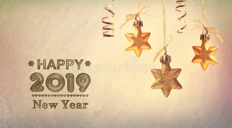С Новым Годом! сообщение 2019 со звездами смертной казни через повешение стоковая фотография rf