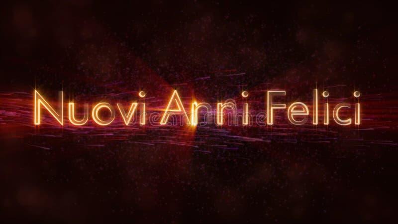 С Новым Годом! текст в анимации петли Nuovi Anni Felici итальянца над темной оживленной предпосылкой иллюстрация вектора