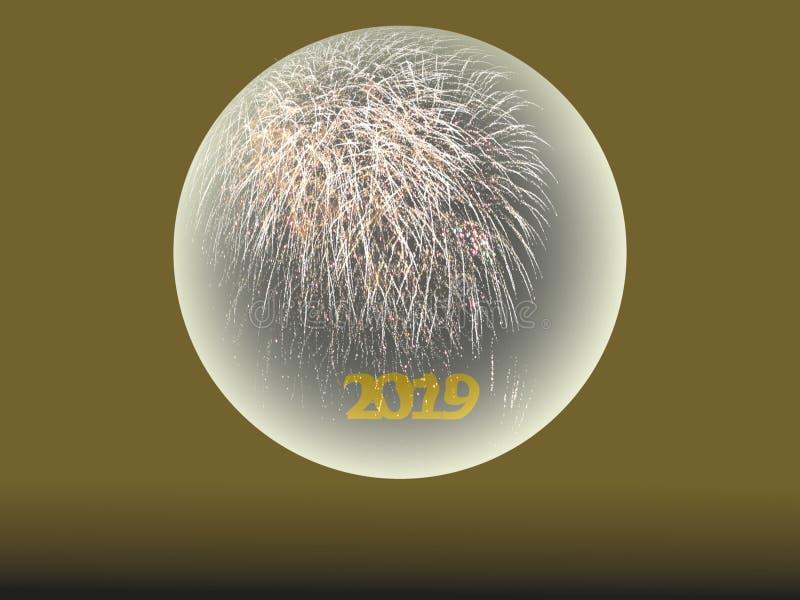 2019 С Новым Годом! фейерверков в хрустальном шаре стоковая фотография rf