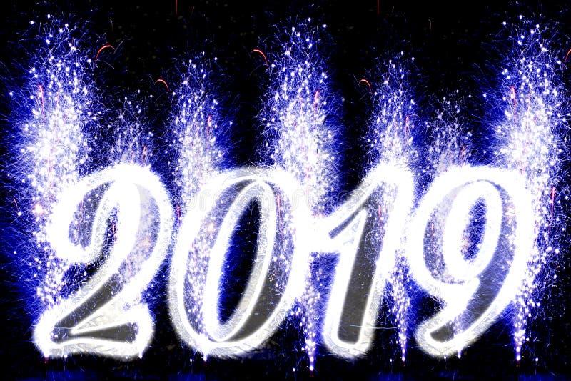 С Новым Годом! 2019 фейерверков стоковые изображения rf