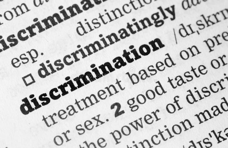 Словарное определение дискриминации стоковое изображение