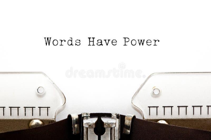 Слова имеют машинку силы стоковые фотографии rf