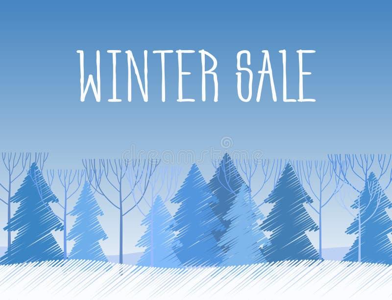 Слова продажи зимы на красивом ландшафте зимы Chrismas плоском с предпосылкой дерева Покрасьте чертеж эскиза иллюстрация штока