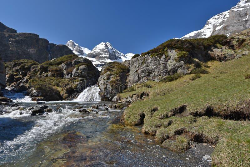 Словоизвержение с водопадами на плато Maillet стоковое изображение rf