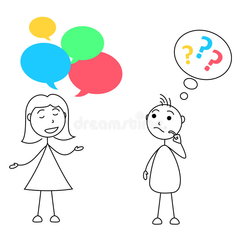 Словоохотливая женщина и невежественный человек бесплатная иллюстрация