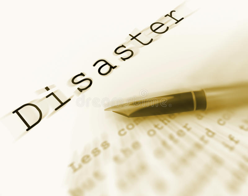Слово бедствия показывает аварийную ситуацию или кризис катастрофы иллюстрация штока