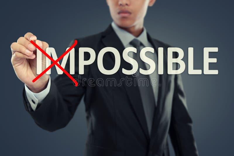 Слово бизнесмена изменяя невозможное в возможное стоковое изображение