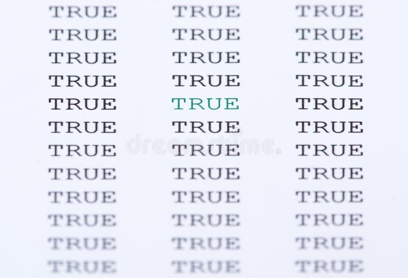 Слово верно окруженное подобным текстом стоковые фотографии rf