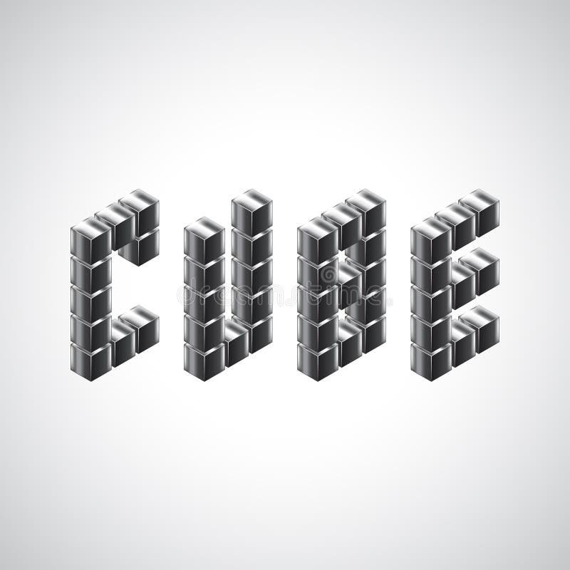 Слово куба от кубов металла 3d бесплатная иллюстрация