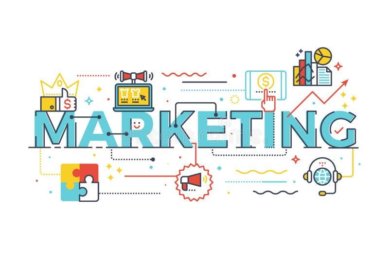 Слово маркетинга в концепции дела иллюстрация вектора