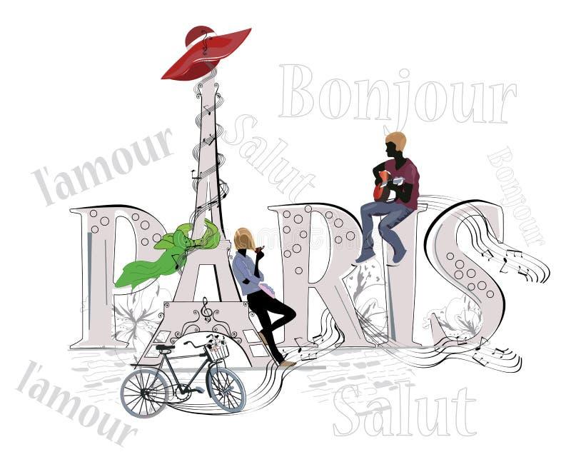 Слово Париж украшенный с Эйфелева башней иллюстрация штока