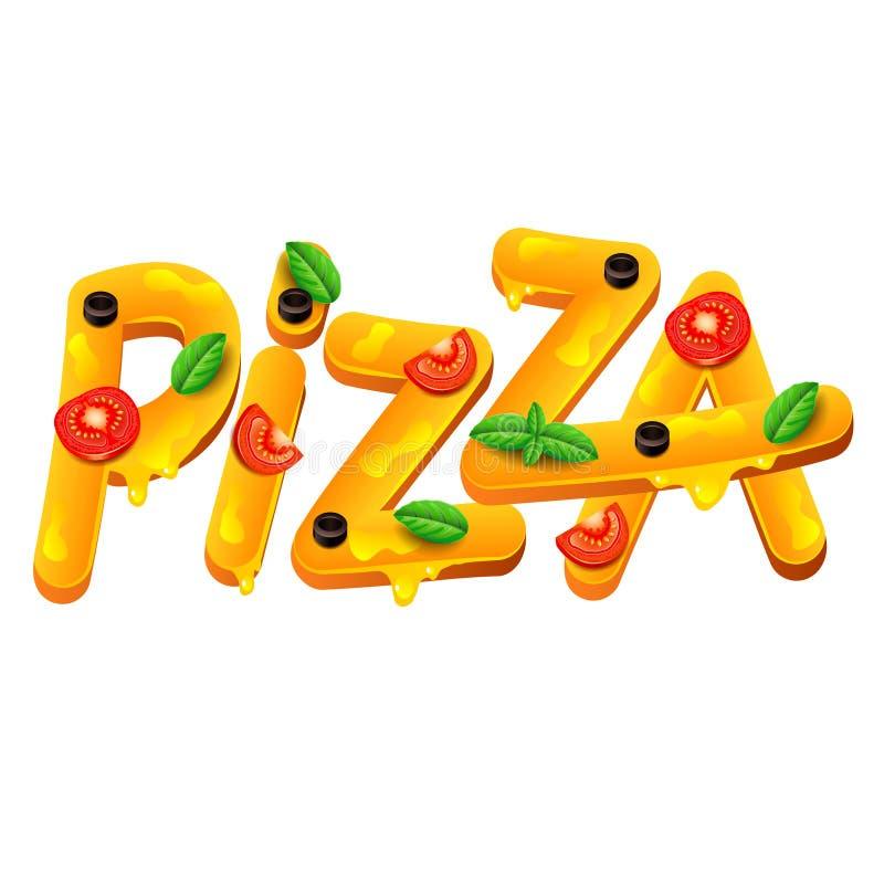 Слово пиццы изолированное на белом векторе иллюстрация штока
