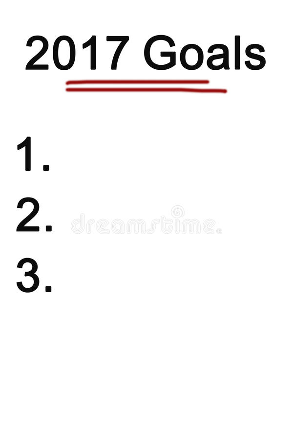 Слово 2017 целей на белой предпосылке стоковое изображение rf