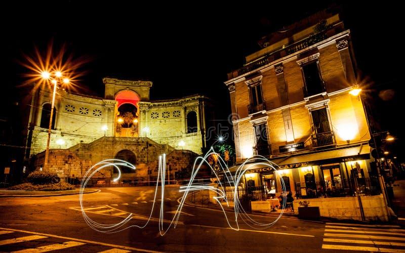 Слово ciao против Bastione в Кальяри стоковая фотография rf