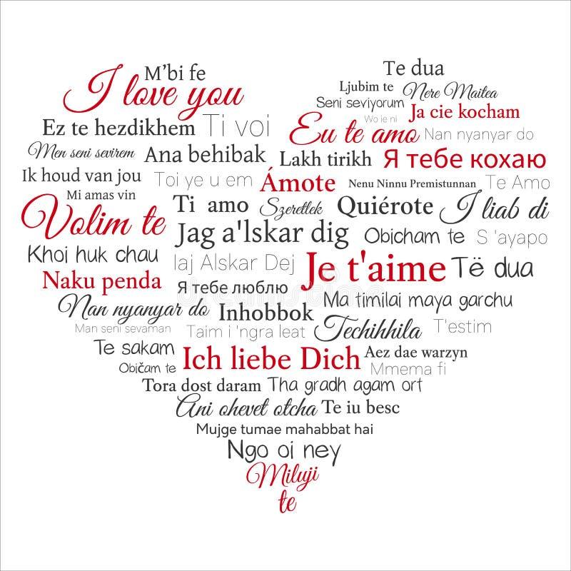Слово CLOUD Фраза я тебя люблю в много языков иллюстрация вектора