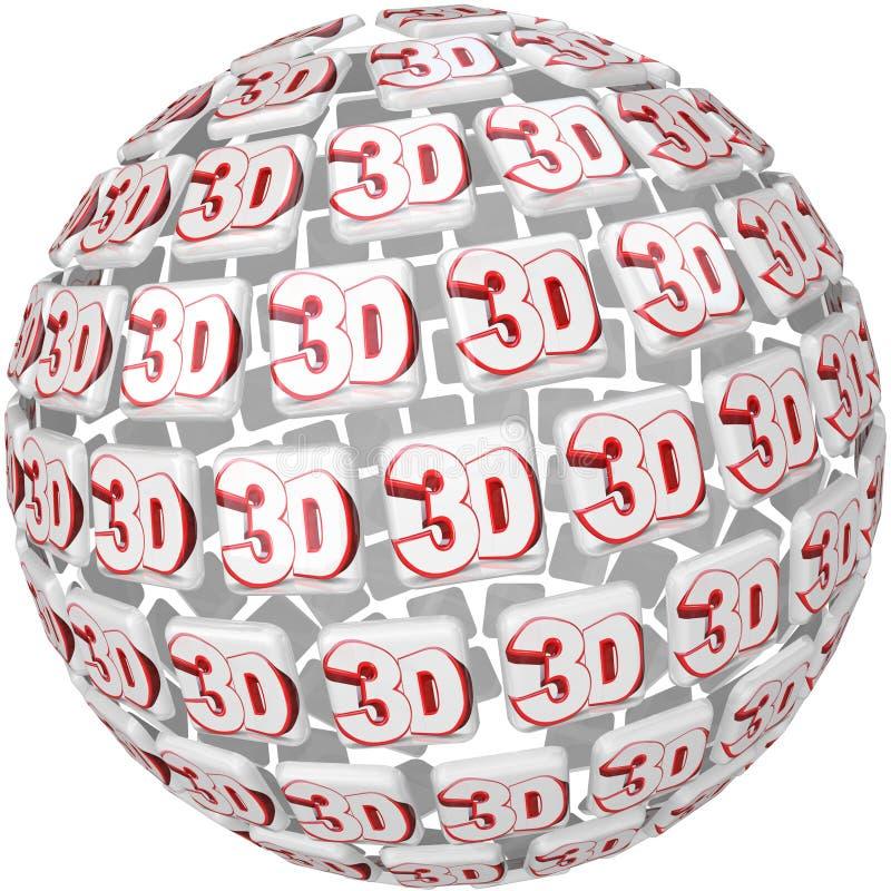 слово 3D на пространственном эффекте сферы шарика иллюстрация штока