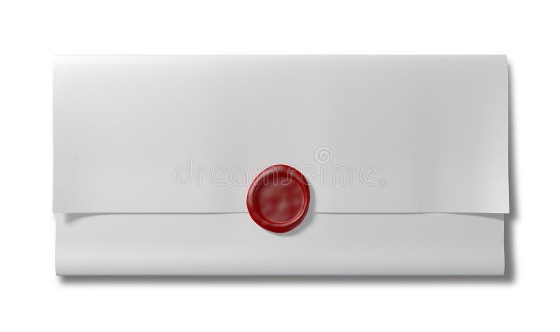 Сложенная белая бумага с красной верхней частью уплотнения воска стоковое изображение