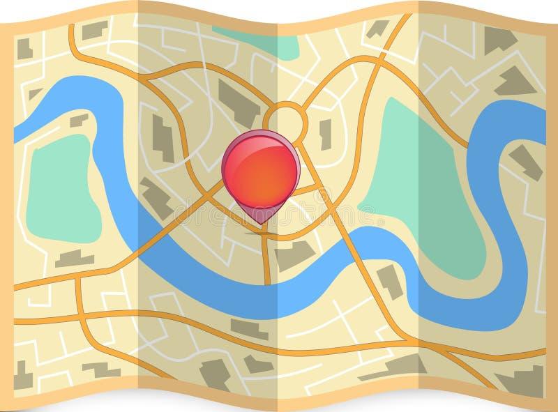 Сложенная карта города с штырем на ем иллюстрация вектора