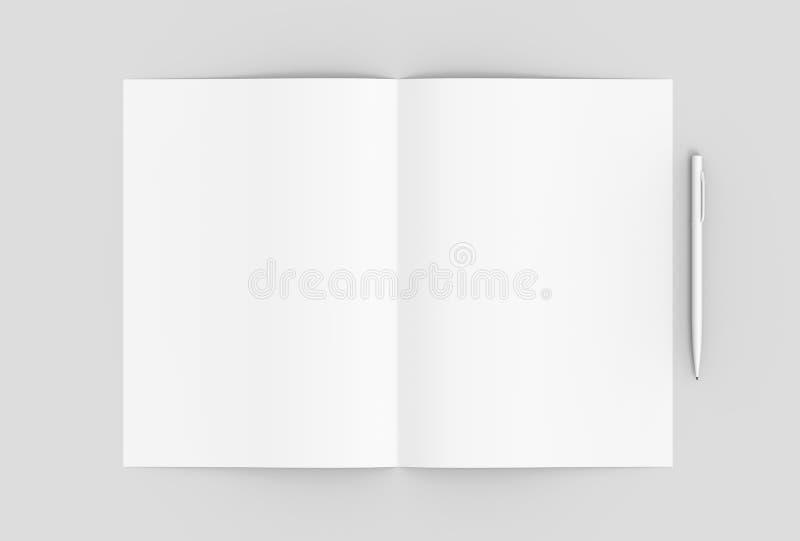 Сложенная пустая бумага с карандашем на мягкой серой предпосылке illus 3d иллюстрация вектора