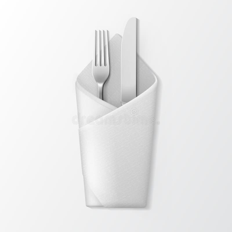 Сложенная салфетка конверта с серебряными вилкой и ножом Поставьте установку на обсуждение иллюстрация штока
