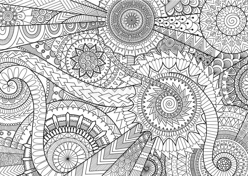 Сложный дизайн движения мандалы для взрослых книжка-раскраски и предпосылки бесплатная иллюстрация
