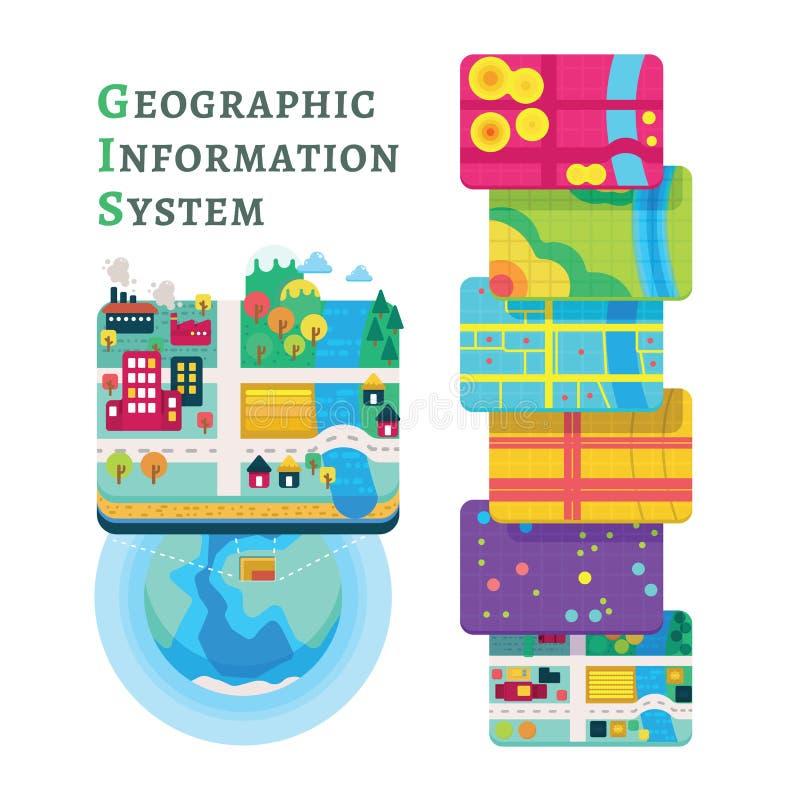 Слои данным по концепции GIS для Infographic иллюстрация штока