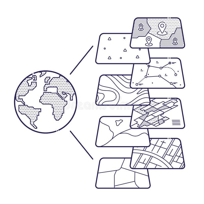 Слои данным по концепции GIS для Infographic бесплатная иллюстрация