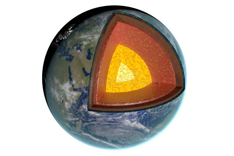 Слои и структура земли белизна изолированная предпосылкой представленная иллюстрация 3d иллюстрация вектора