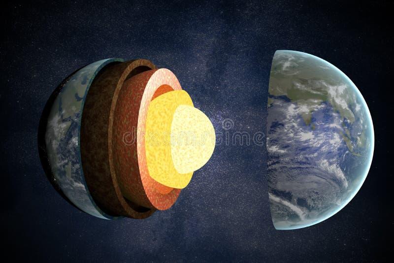 Слои и структура земли представленная иллюстрация 3d иллюстрация штока