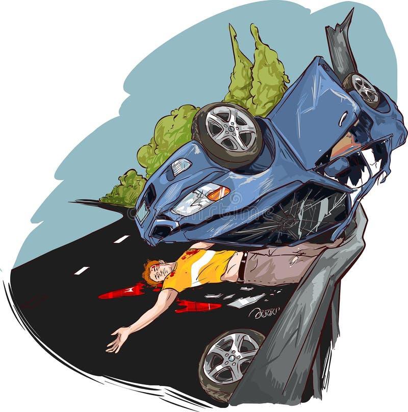 сломанный аварией фокус водителя автомобиля около отражательного предупреждения тельняшки треугольника безопасности дороги бесплатная иллюстрация