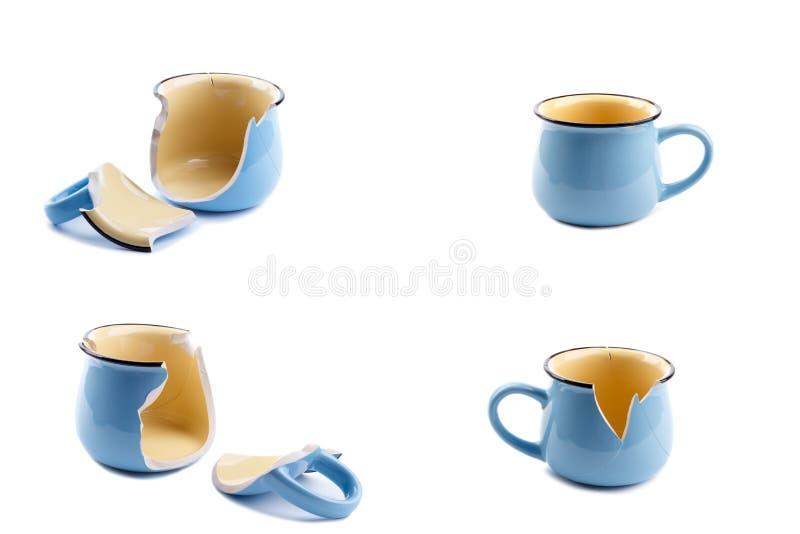 Сломленная кофейная чашка стоковые изображения rf