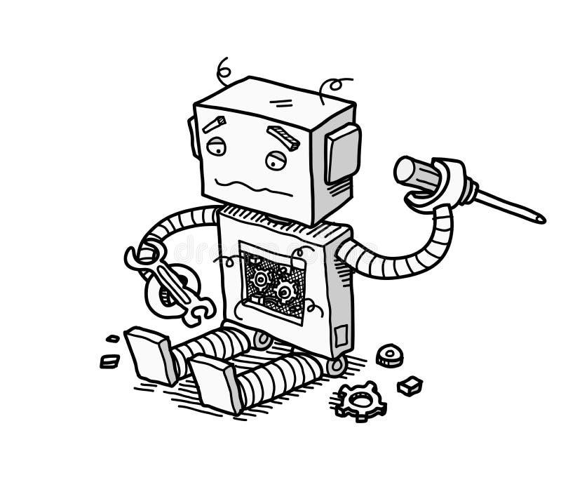 Сломленная починка робота иллюстрация вектора