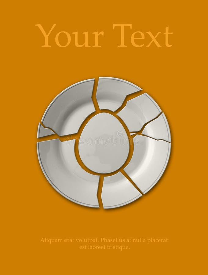 сломленная плита в форме яичка на оранжевом col стоковые фото