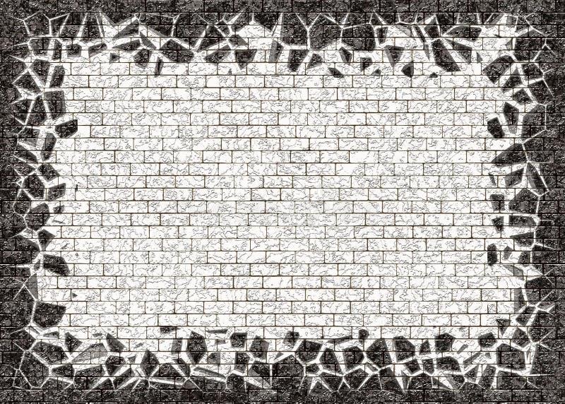 Сломленная рамка черных малых предпосылок кирпича иллюстрация штока