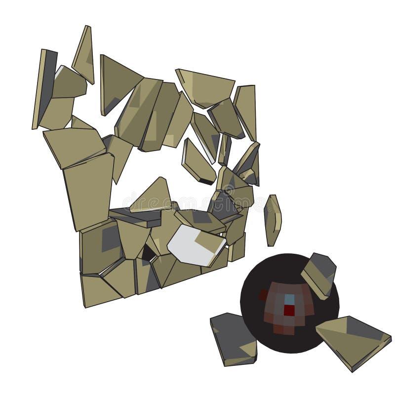 Сломленная стена сферы растр иллюстрация штока