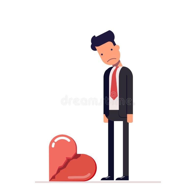 сломленное сердце Унылый человек в деловом костюме Развод в семье Потеря его любимое бесплатная иллюстрация