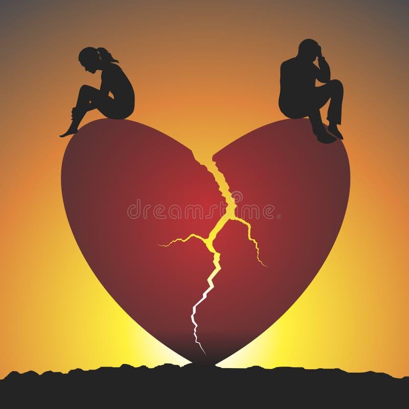 сломленное сердце иллюстрация вектора