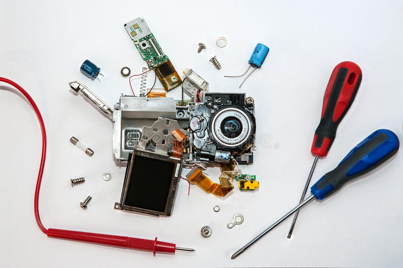 сломленное цифровой фотокамера/обслуживание стоковое изображение rf