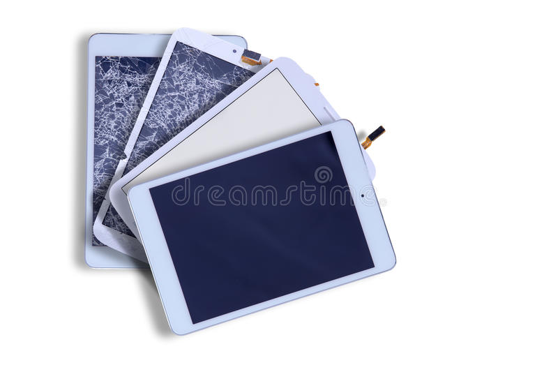 Сломленные и отремонтированные экраны таблетки стоковое изображение