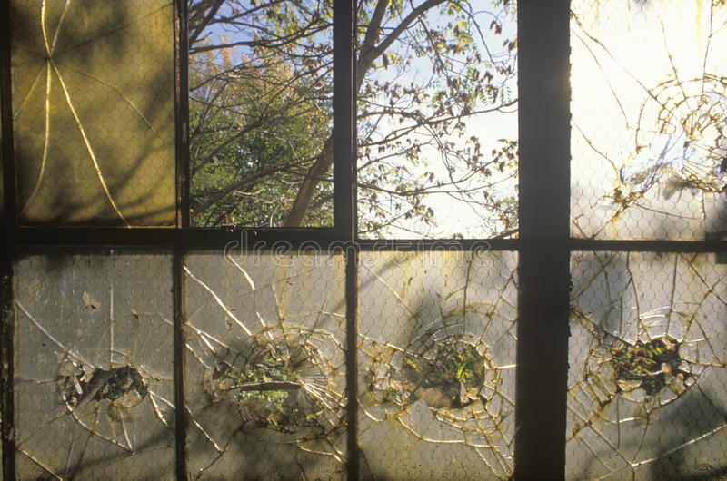 Сломленные окна в покинутой фабрике, восточном Сент-Луис, Миссури стоковые изображения rf